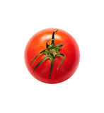 Tomato isolated. Top view of red ripe tomato isolated on white background Stock Photos