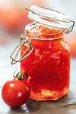 Tomato Jam in Glass Jar Stock Images