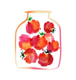 Tomato jar watercolor illustration. Royalty Free Stock Images