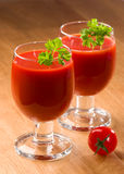 Tomato Juice. Or bloody mary with parsley herb in glasses Royalty Free Stock Photos