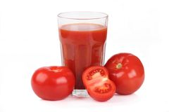 Tomato juice. Fresh tomato juice on white background Stock Photos