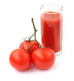 Tomato and juice. On a white background Stock Photos
