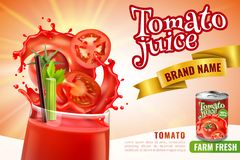 Tomato Juice Advertising Poster vector illustration