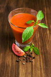 Tomato juice with basil Royalty Free Stock Photography