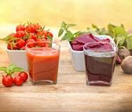 Tomato juice and beet juice Stock Image