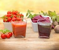 Tomato juice and beet juice Stock Image