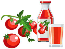 Tomato juice with bottle, glass and tomatoes. Illustration of tomato juice in the bottle, glass and tomatoes Royalty Free Stock Photography
