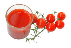 Tomato juice and cherry tomatoes Stock Photos