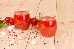 Tomato juice composition. Close up. Stock Photos