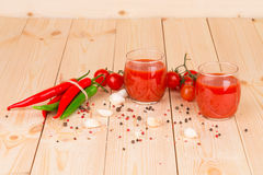 Tomato juice composition. Close up. Stock Images
