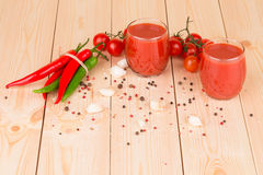 Tomato juice composition. Close up. Stock Photos