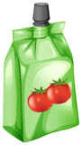 A tomato juice in a drinking pouch Stock Photos