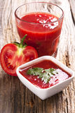 Tomato juice and fresh organic tomato Stock Images