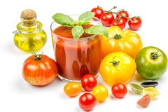 Tomato Juice and Fresh Tomatoes Stock Photo