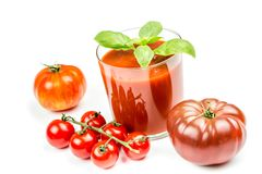 Tomato Juice and Fresh Tomatoes Royalty Free Stock Photos