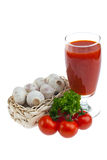Tomato juice, garlic, parsley . Royalty Free Stock Photography