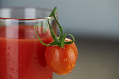 Tomato at juice glass Royalty Free Stock Photo