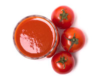 Tomato juice in the glass, cherry tomatoes Royalty Free Stock Image