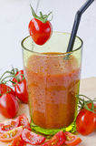 Tomato juice in a glass. Stock Photos
