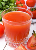 Tomato juice. Glass of fresh juice of tomato Stock Photo
