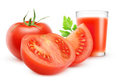 Tomato juice. Glass of tomato juice and fresh tomatoes over white background Royalty Free Stock Images
