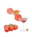 Tomato juice in the glass, orange cherry tomatoes and red tomato Stock Photos