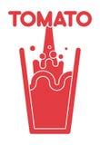 Tomato juice glass. Spray fresh tomato juice. Vector illustrati Royalty Free Stock Image