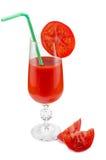 Tomato juice. Glass of tomato juice with straw Stock Image