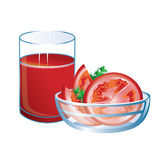Tomato juice with glass and tomatoes. Royalty Free Stock Photos