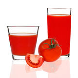 Tomato juice in a glass on a white background Stock Photography