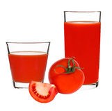 Tomato juice in a glass on a white background Stock Image