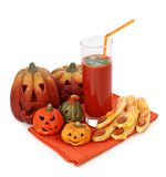 Tomato juice and halloween cakes Stock Photography
