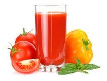 Tomato juice isolated on white background. juice in glass stock photos