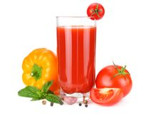 Tomato juice isolated on white background. juice in glass royalty free stock photos