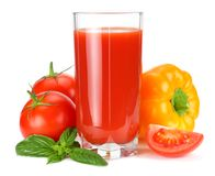 Tomato juice isolated on white background. juice in glass royalty free stock image