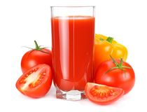 Tomato juice isolated on white background. juice in glass royalty free stock images