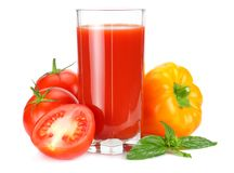 Tomato juice isolated on white background. juice in glass stock photography