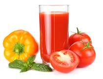 Tomato juice isolated on white background. juice in glass stock image