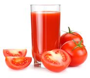 Tomato juice isolated on white background. juice in glass stock images