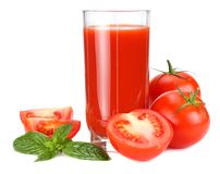 Tomato juice isolated on white background. juice in glass royalty free stock photography