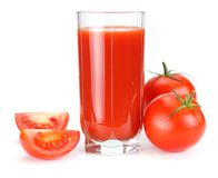 Tomato juice isolated on white background. juice in glass stock photo