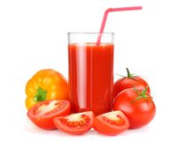 Tomato juice isolated on white background. juice in glass royalty free stock photo