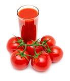 Tomato juice isolated on white. Tomato juice with branch of red tomatoes isolated on white background Stock Image