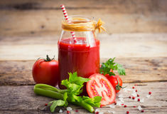 Tomato juice. In the jar Stock Photography