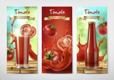 Tomato juice and ketchup ad, vector. Tomato juice and ketchup ad. Drinking glass with juice and bottle with ketchup on background of whole and sliced tomatoes Royalty Free Illustration