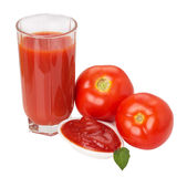 Tomato juice and ketchup isolated on the white background Royalty Free Stock Images
