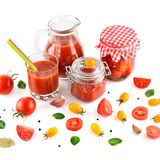 Tomato juice, ketchup and tomato isolated on white background. Royalty Free Stock Images