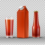 Tomato juice and ketchup. In paper box, drinking glass and glass bottle, realistic set isolated on transparent background. Mock up package, brand design for Vector Illustration