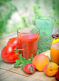 Tomato juice and other juices Stock Image