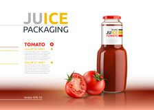Tomato juice packaging realistic Vector mock up. Italian tomato sauce, seasoning or ketchup bottle advertise templates. Tomato juice packaging realistic Vector Stock Image